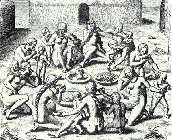 Una stampa a tema Cannibalismo e antropofagia