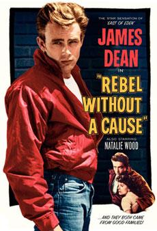 La locandina USA del film Gioventù Bruciata, con James Dean