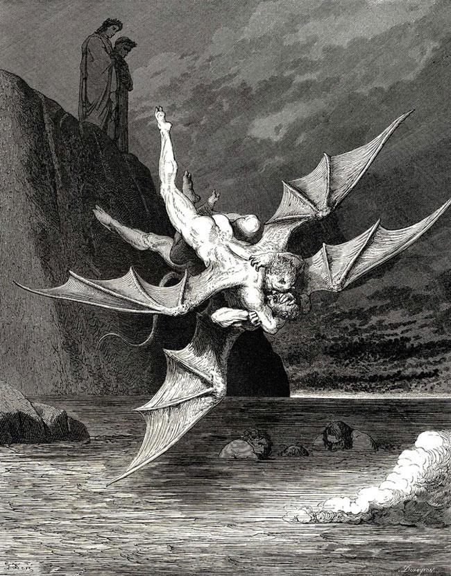 Gustave Dorè: Alichino e Calcabrina si azzuffano