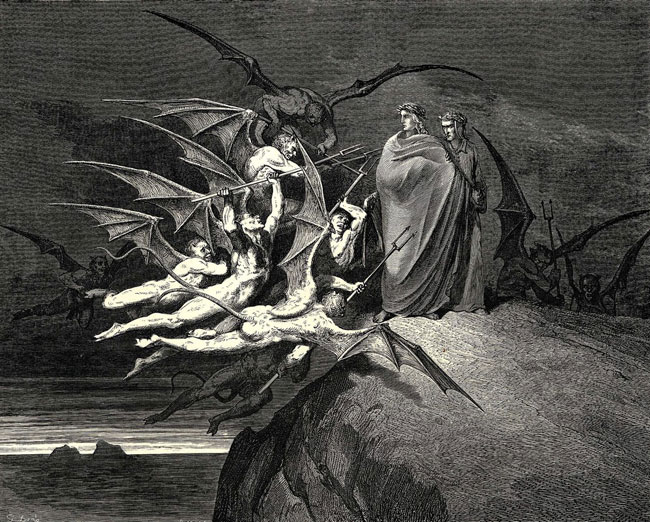 Gustave Dorè: I Malebranche minacciano Dante e Virgilio
