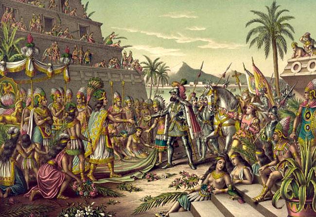 Hernán Cortés incontra Montezuma