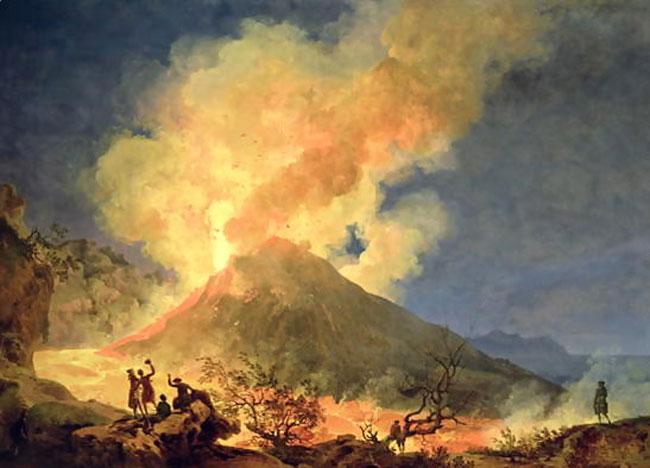 Il Vesuvio che erutta in un dipinto