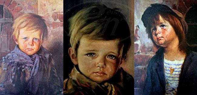 Tre quadri con i bimbi piangenti di Bruno Amadio