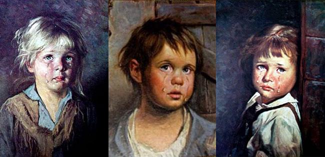 Tre quadri con i bimbi che piangono di Bruno Amadio