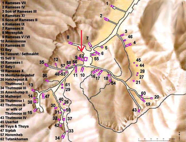 La mappa con le tombe dei faraoni