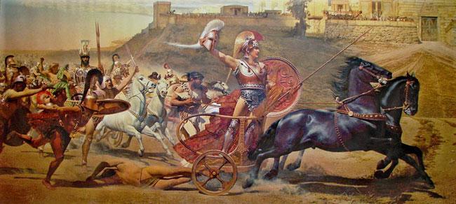 Achille vittorioso sul carro trascina il cadavere di Ettore