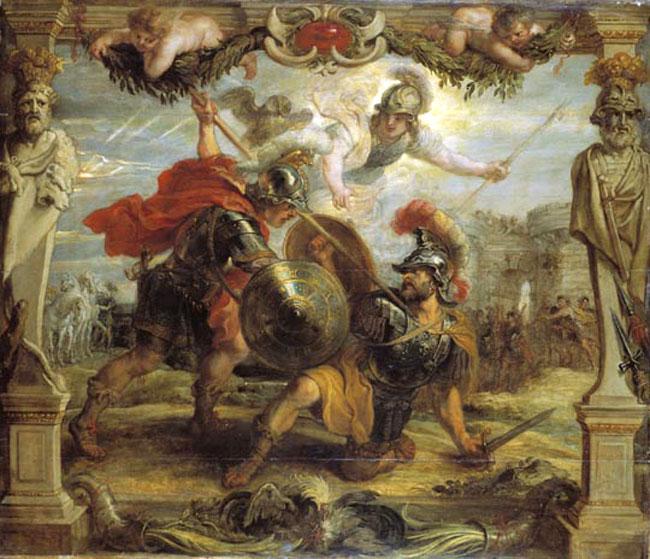 Achille sconfigge e uccide Ettore