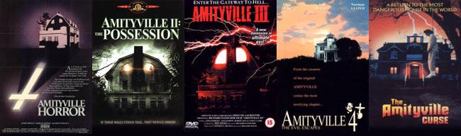 Le locandine degli primi 5 film su Amityville Horror