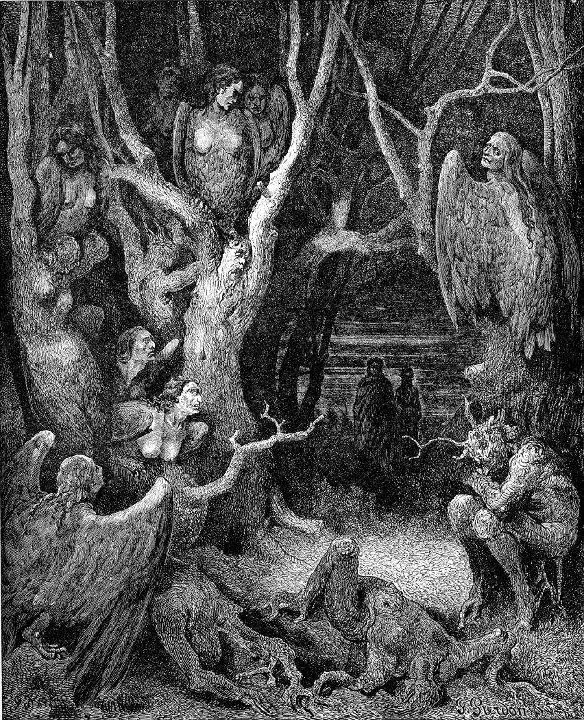 Le Arpie all'Inferno di Gustave Doré