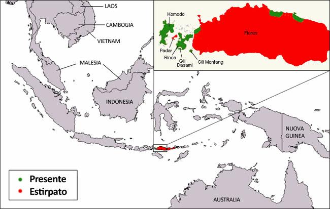 La distribuzione del Varano di Komodo