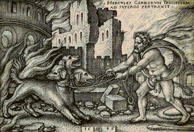 Cerbero sconfitto da Ercole