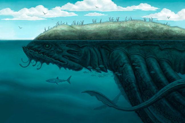 Un Kraken dipinto come mostro-isola