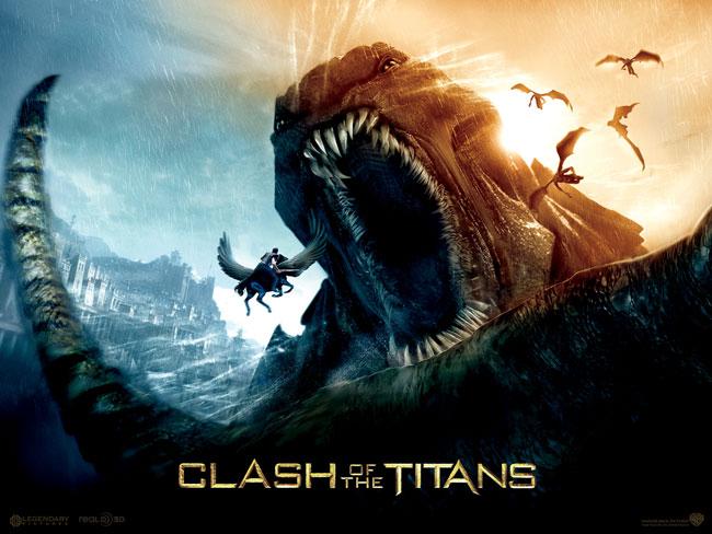 Una locandina dedicata al film Scontro tra titani