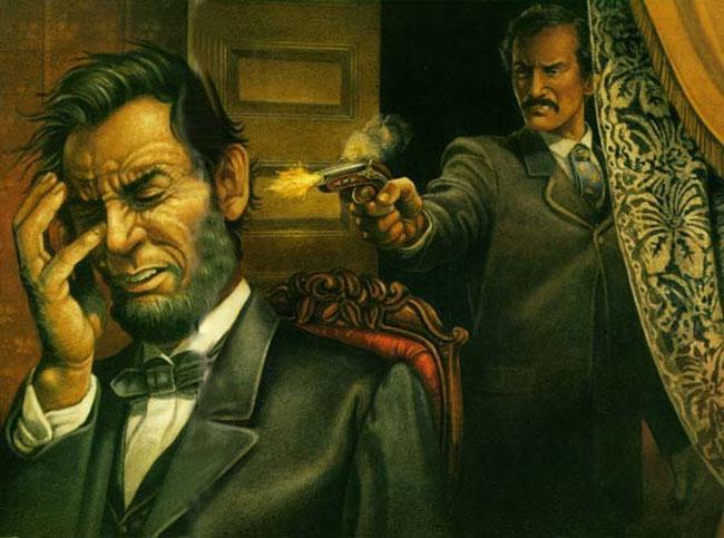 Un dipinto con l'omicidio di Abraham Lincoln