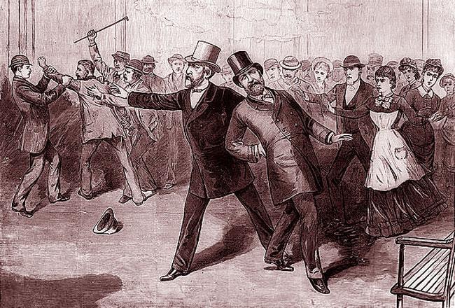 Un'immagine con la morte di James Garfield