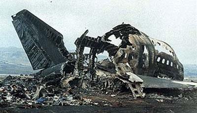 Una foto del relitto del boeing KLM