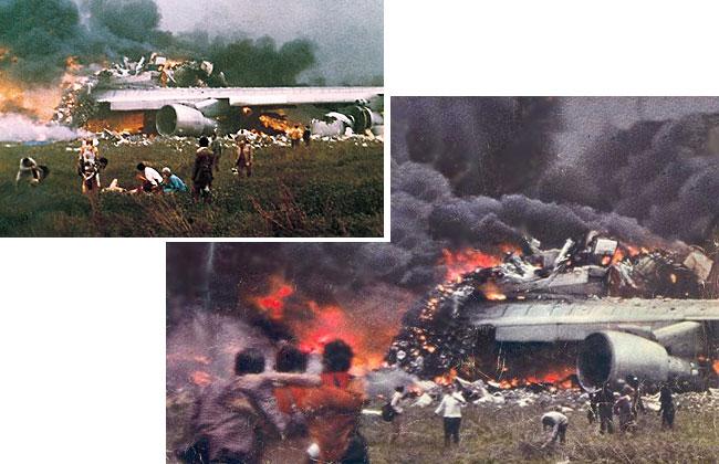 Le fiamme e avvolgono il boeing della Pan Am