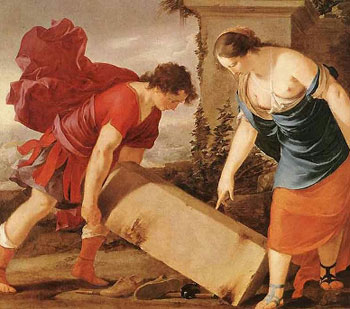 Teseo solleva la pietra e trova la spada e i sandali del padre