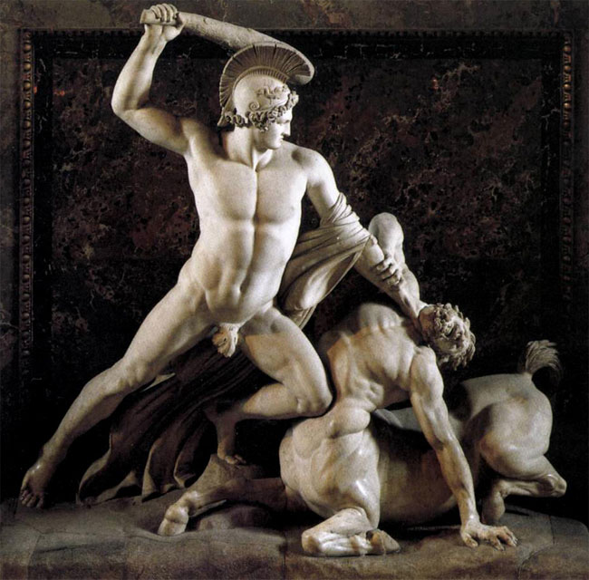 Teseo sconfigge il centauro Eurito