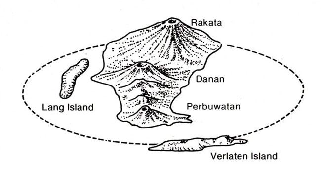 Il vulcano Krakatoa prima dell'esplosione del 1883