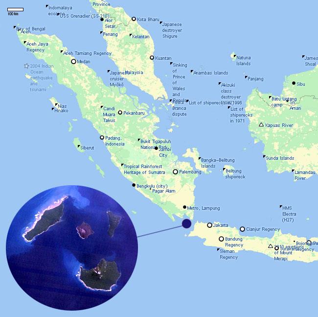 La posizione del vulcano Krakatoa nel 2012