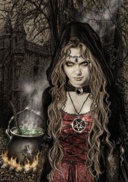 Una sensuale strega e il suo calderone ribollente