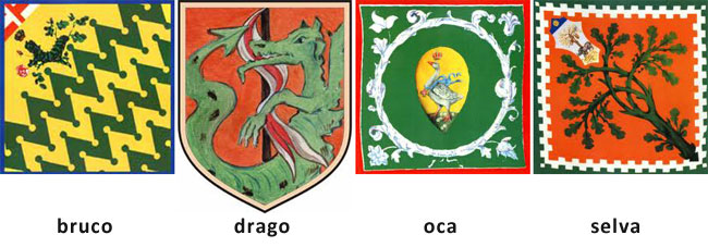 I simboli delle quattro contrade verdi