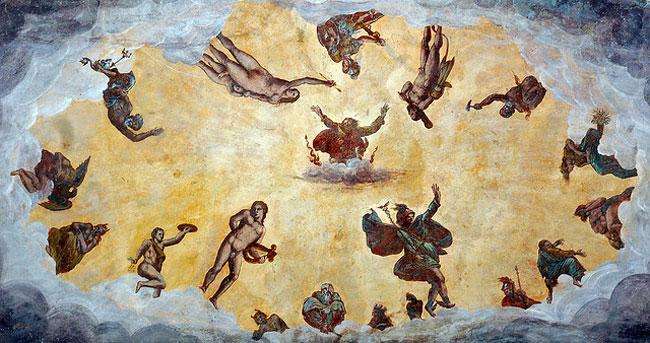 L'affresco con gli Dèi dell'Olimpo