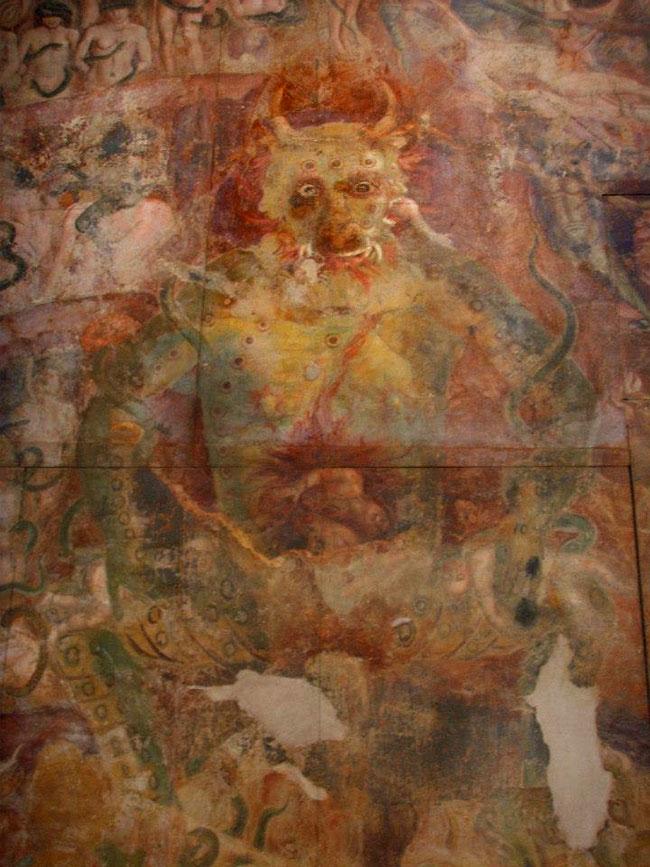 Un affresco con Lucifero a opera di Buffalmacco