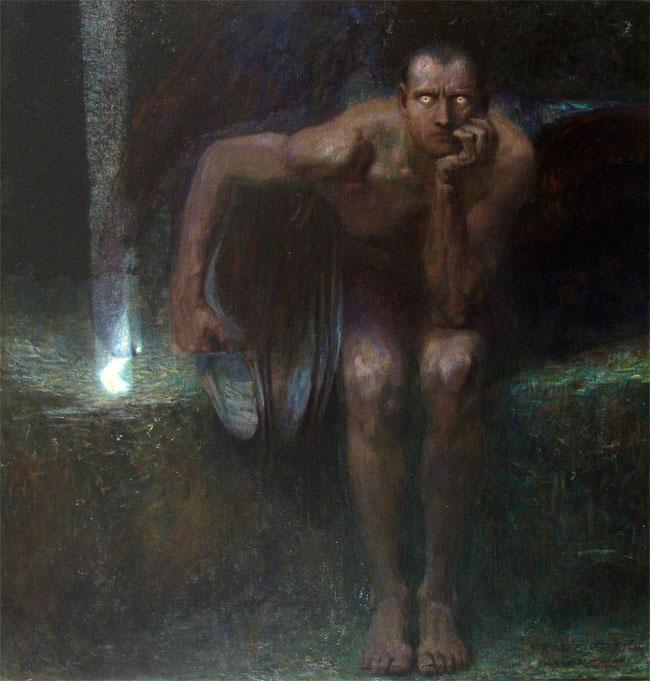 Lucifero dipinto da Franz Von Stuck