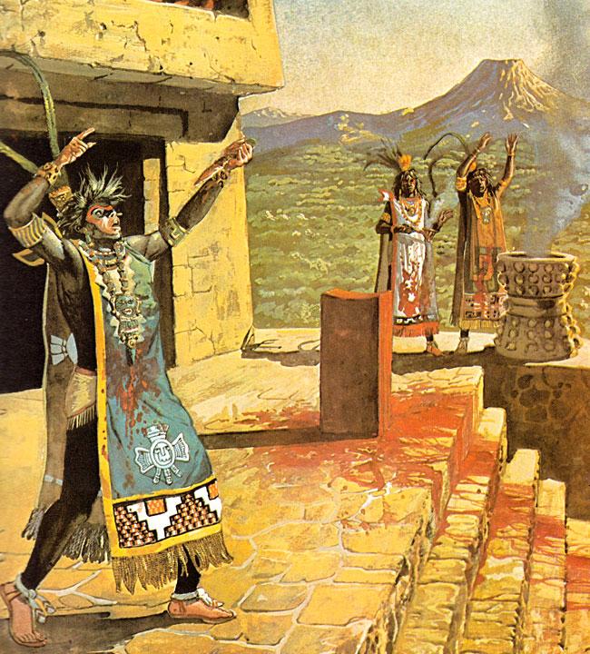 Sacerdoti aztechi che compiono sacrifici umani