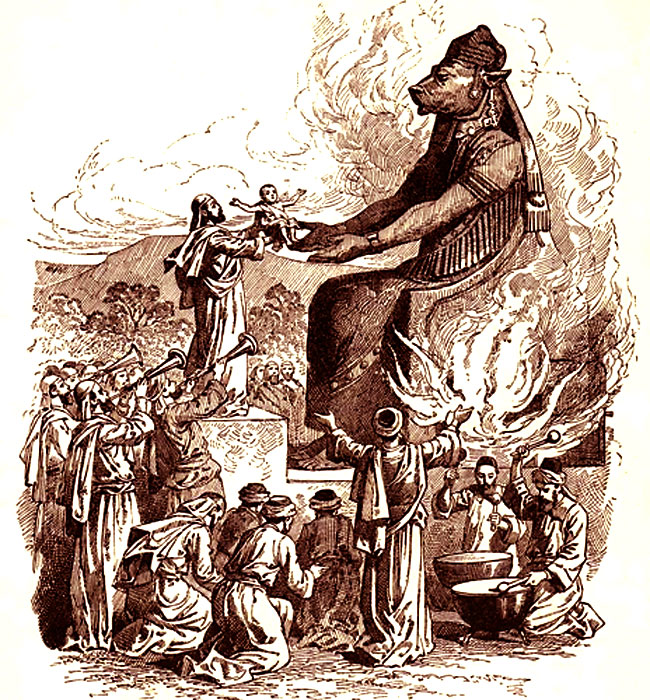 Un bambino sacrificato al dio Moloch