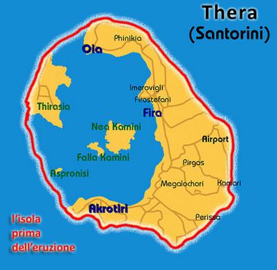 L'isola vulcano di Thera prima e dopo l'eruzione