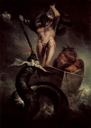 Thor a pesca di Jormungand col gigante Hymir