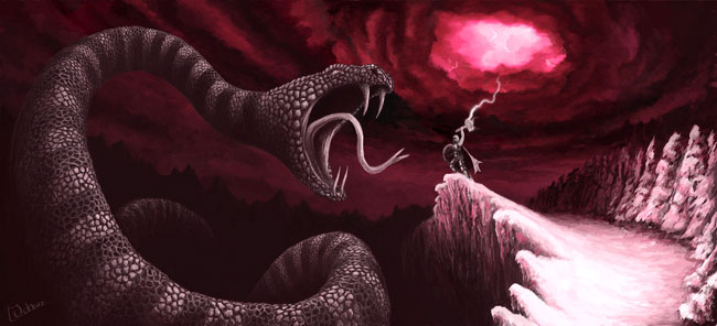 Jormungand e Thor si affrontano durante il Ragnarök