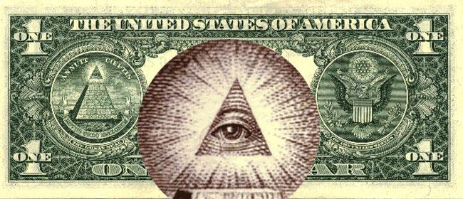 La banconota da un dollaro americana con l'occhio nel triangolo