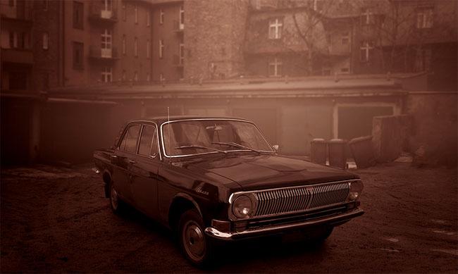 La foto di una Volga nera