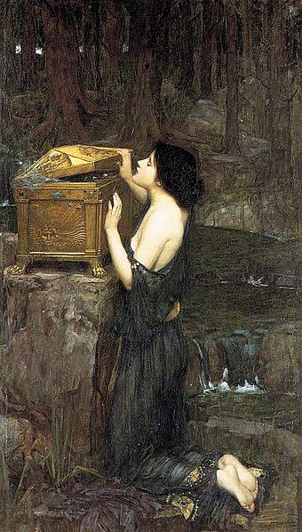 Un dipinto con Pandora e il suo vaso
