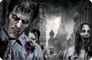 Un'immagine con zombie affamati
