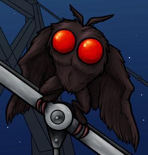 Una illustrazione del Mothman (Uomo Falena)