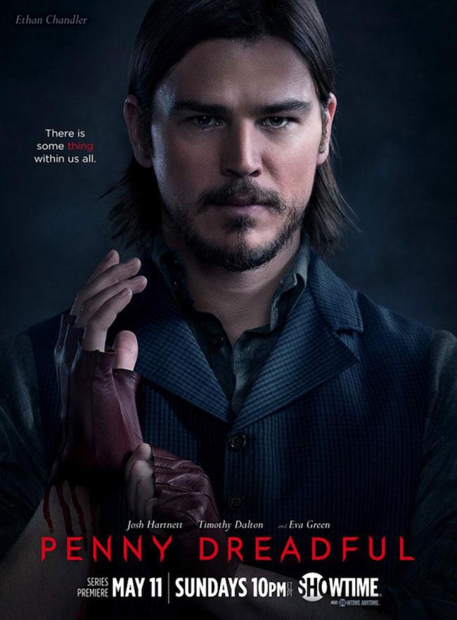 Un poster promozionale della prima Stagione di Penny Dreadful rappresentante Ethan Chandler