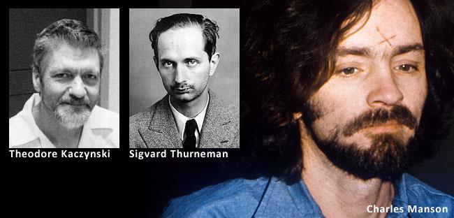 Serial killer atipici: il bombarolo Theodore Kaczynski e gli assassini per induzione Charles Manson e Sigvard Thurneman