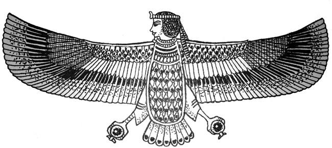 Un'immagine che ritrae l'entità egiziana BA nella sua forma d'aquila