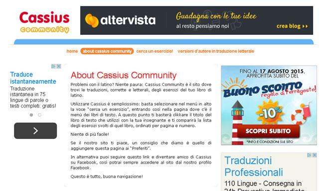 Un'immagine della home page di Cassius Community