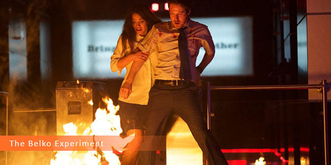 Un fotogramma dal film horror 2017 intitolato The Belko Experiment