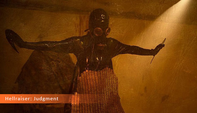Un fotogramma dal film horror 2017 intitolato Hellraiser: Judgment