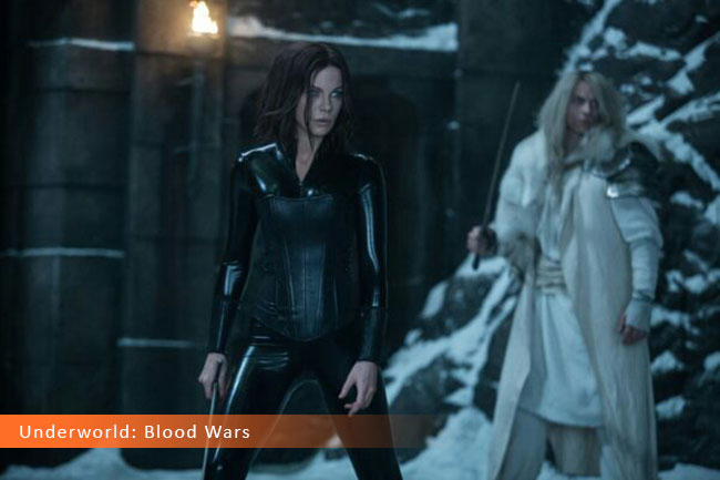 Un fotogramma dal film horror 2017 intitolato Underworld: Blood Wars