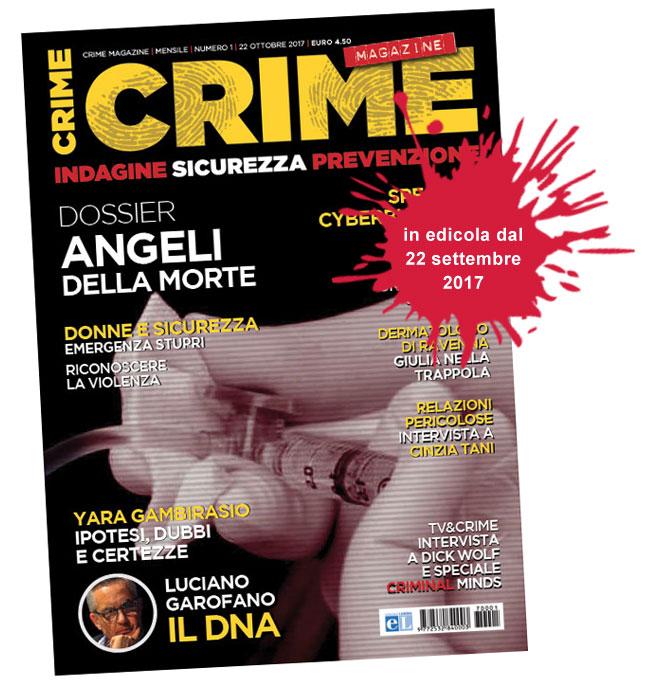 La copertina del numero 1 di Crime Magazine ottobre 2017