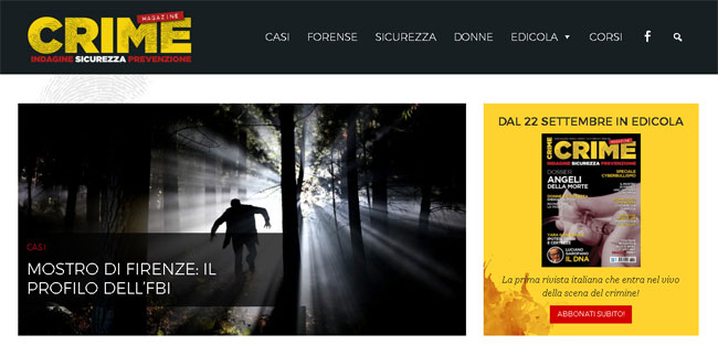 La home page del sito web crimemagazine.it