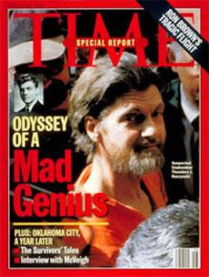 Theodore Kaczynski, l'Unabomber, sulla copertina del Time